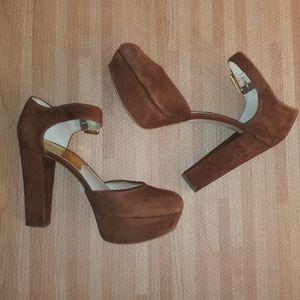 Michael Kors suede thick heels